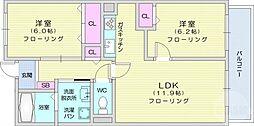 仙台市地下鉄東西線 八木山動物公園駅 4.1kmの賃貸マンション 4階2LDKの間取り