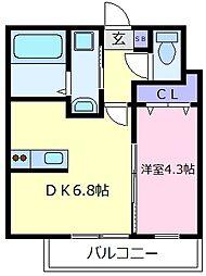 近鉄南大阪線 高鷲駅 徒歩5分の賃貸アパート 1階1DKの間取り