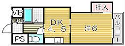 大阪府吹田市南正雀4丁目の賃貸マンションの間取り