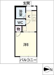 ドミトリーKITAA棟 2階1Kの間取り