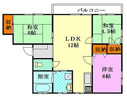 神奈川県藤沢市本鵠沼5丁目の賃貸アパートの間取り