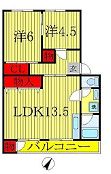フジタサニーハイツ A[4階]の間取り