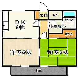 滋賀県大津市栄町の賃貸アパートの間取り