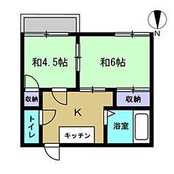 サニーハイツA[202号室]の間取り