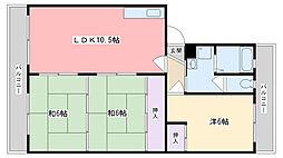 センターハイツ原[302号室]の間取り