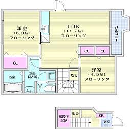 仙台市地下鉄東西線 八木山動物公園駅 3.3kmの賃貸アパート 2階2LDKの間取り