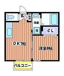 東京都立川市高松町1丁目の賃貸アパートの間取り
