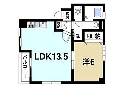 松本マンション 2階1LDKの間取り