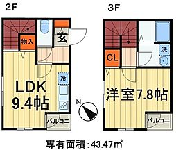 JR山手線 田端駅 徒歩7分の賃貸アパート 2階1LDKの間取り