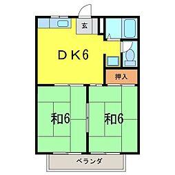 タウニー東栄 A[102号室]の間取り