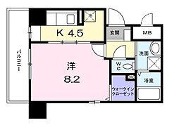 横浜市営地下鉄ブルーライン センター南駅 徒歩5分の賃貸マンション 4階1Kの間取り