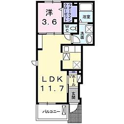 愛媛県松山市余戸中2丁目の賃貸アパートの間取り
