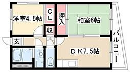 愛知県名古屋市守山区町南の賃貸マンションの間取り