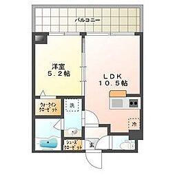 札幌市電2系統 ロープウェイ入口駅 徒歩1分の賃貸マンション 2階1LDKの間取り