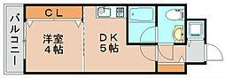 レジデンス箱崎[7階]の間取り