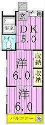 千葉県松戸市竹ケ花西町の賃貸アパートの間取り