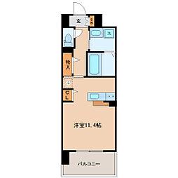 ラ・ルーチェK 4階ワンルームの間取り