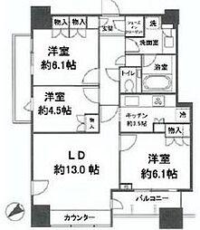 アトラスタワー西新宿 11階3LDKの間取り