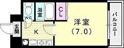 バッハレジデンス神戸ウエスト 3階1Kの間取り