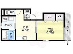 Kukuru北岡 2階1DKの間取り