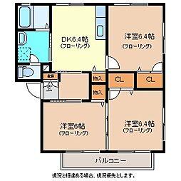 カーサまつかわD[2階]の間取り