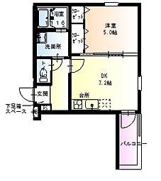 フジパレス駒川中野V番館 2階1DKの間取り