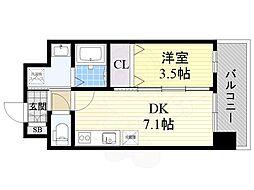 阪急京都本線 正雀駅 徒歩5分の賃貸マンション 6階1DKの間取り