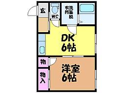 愛媛県東温市南方の賃貸アパートの間取り