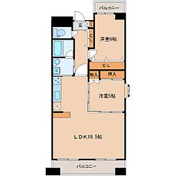 JR仙石線 榴ヶ岡駅 徒歩5分の賃貸マンション 2階2LDKの間取り