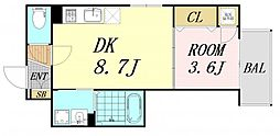 F mirai alba 3階1DKの間取り