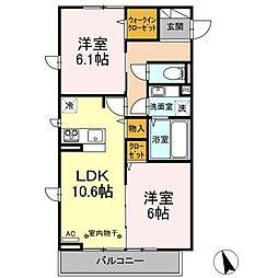 仮)D-room南大沢 2階2LDKの間取り