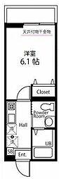 ハーミットクラブハウス大口通 3階1Kの間取り