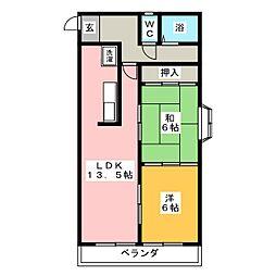 アサイマンション[2階]の間取り