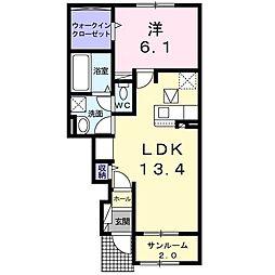 ヴィオラ広丘II 1階1LDKの間取り