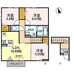 蔵 B棟 2階3LDKの間取り