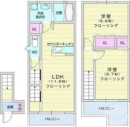仙台市営南北線 長町一丁目駅 3.1kmの賃貸アパート 2階2LDKの間取り