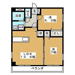 トゥー・ル・モンド京都五条[4階]の間取り