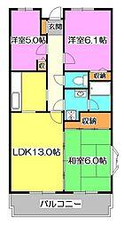 東京都東久留米市浅間町2丁目の賃貸マンションの間取り