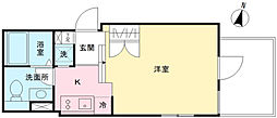 LAPiS原宿II 1階ワンルームの間取り
