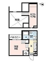 名古屋市営東山線 八田駅 徒歩7分の賃貸アパート 1階1SKの間取り