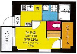 b'CASA Yokohama Higashi[204号室号室]の間取り