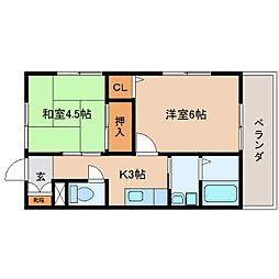 静岡県静岡市駿河区曲金5丁目の賃貸アパートの間取り