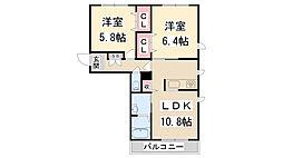 兵庫県宝塚市口谷西1丁目の賃貸アパートの間取り