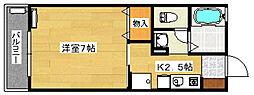 ソレーユ向田 2階1Kの間取り