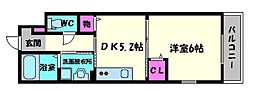 大阪府大阪市旭区今市2丁目の賃貸アパートの間取り