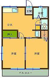 シティハイム本庄駅前 1階2DKの間取り