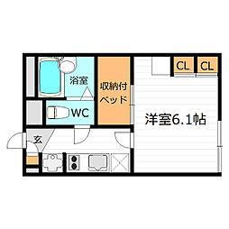 大阪府大阪市東成区東今里2丁目の賃貸アパートの間取り