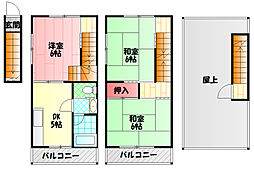 京阪本線 西三荘駅 徒歩14分の賃貸テラスハウス 2階3Kの間取り