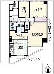 茶屋ヶ坂パークマンション[6階]の間取り