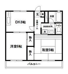 東京都府中市若松町4丁目の賃貸アパートの間取り